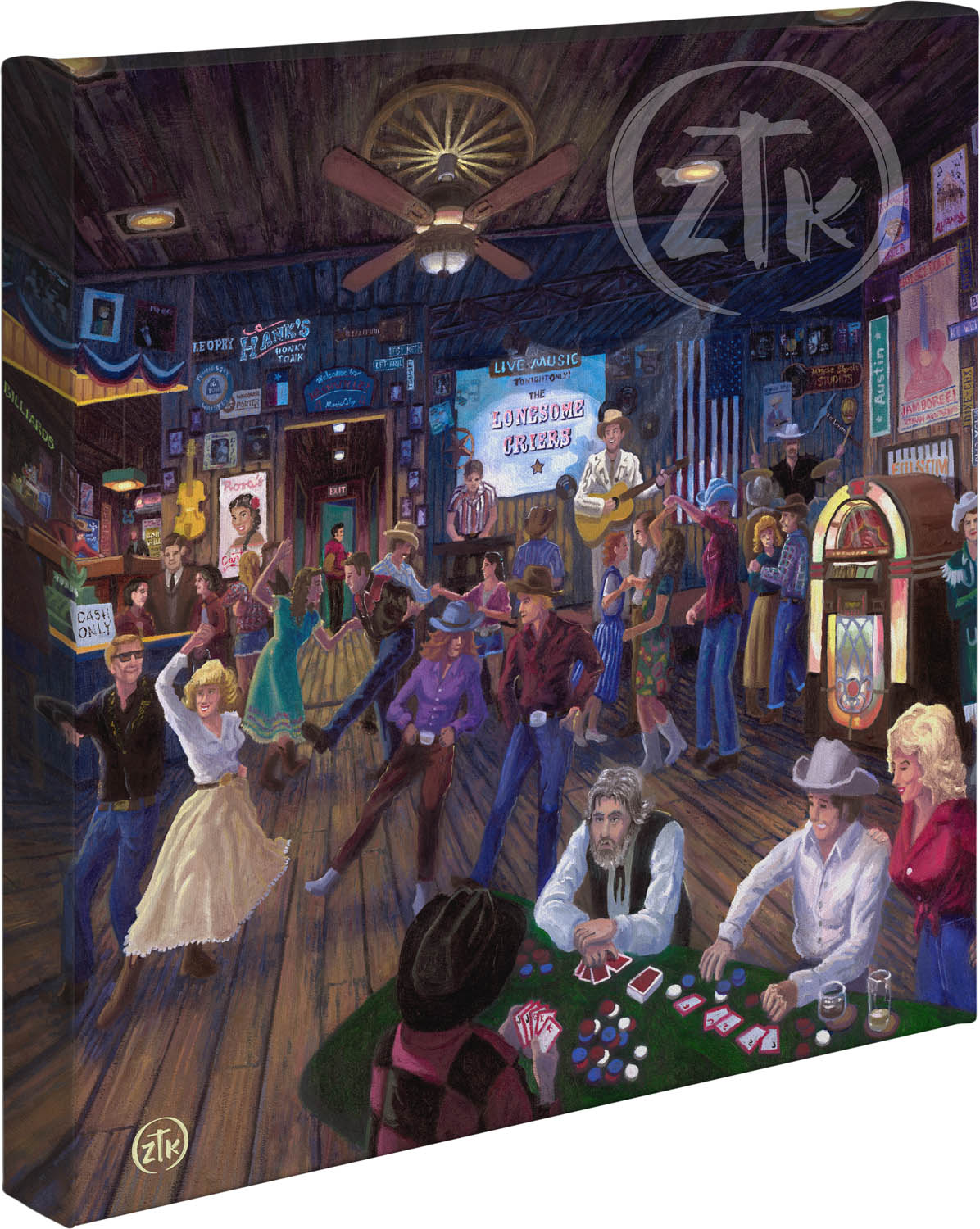 """Hank's Honky Tonk - 14"""" x 14"""" - Gallery Wrapped Canvas"""